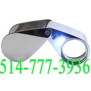 Loupe 30x Magnifier Optical Glass Jeweler LED Light Magnifying