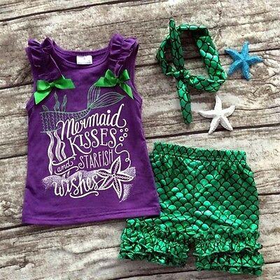 US Toddler Kids Baby Mermaid Girl Clothes Tank Tops + Pants+Headbands Outfit Set](Mermaid Pants)