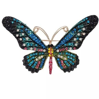 Large Rhinestone Butterfly Pin Brooch Colourful Gold Vintage Diamante Brooch
