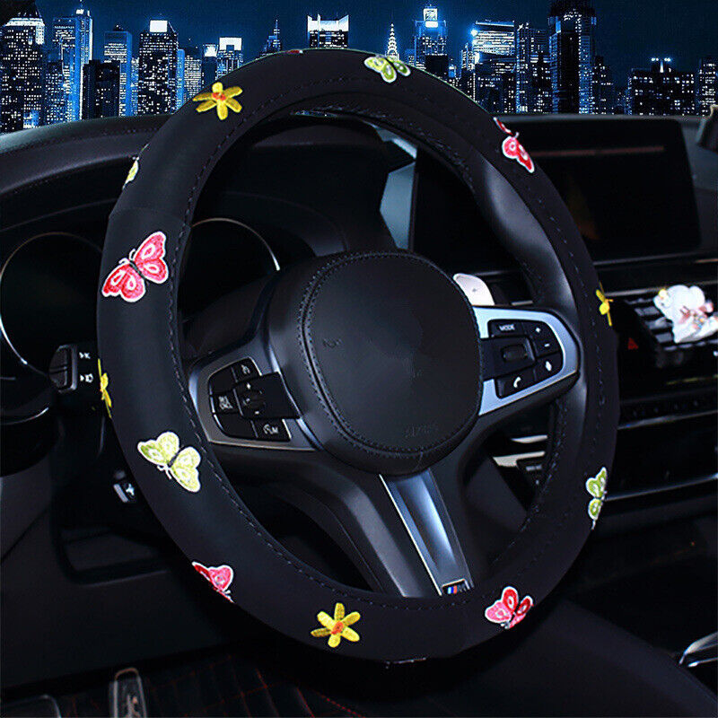 Details about DIY Car Accessories Butterfly Embroidered Steering Wheel  Cover For women Black
