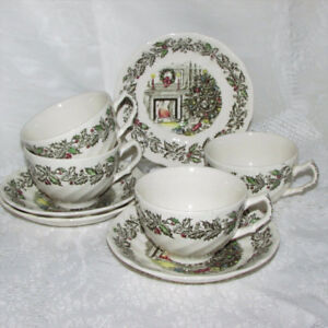 4 Vintage Johnson Brothers Merry Christmas Cup & Saucer Teacup