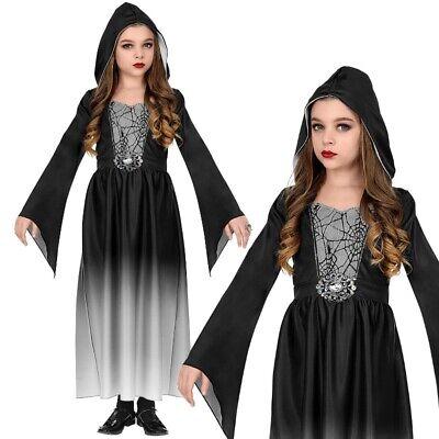 Mittelalter Kostüm Kinder Gothic KLEID MIT KAPUZE - Gr. 158 Mädchen Vampir - Gothic Vampir Kinder Kostüm
