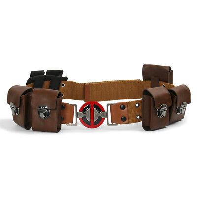 Deadpool Movie Cosplay Belt with Metal Buckle with Pockets Costume Props (Deadpool Belt Cosplay)