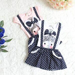 Baby Girls Kids Polka Dot Dress Clothes Princess Child Overalls Dress 2-6Yrs