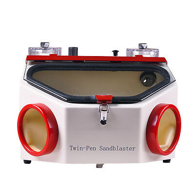 Dental Lab Double Twin Pen Fine Sand Blasting Unit Sandblaster Equipment Machine