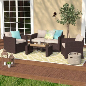 Guilford 4 Piece Rattan Sofa Set with Cushions Neuf / New Sofa