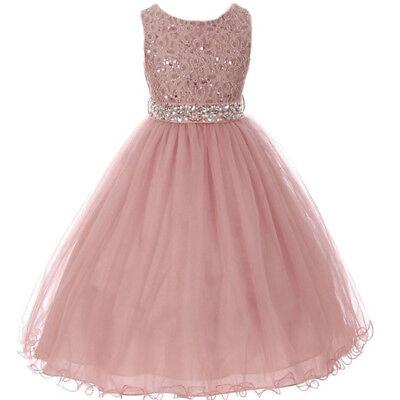Mauve Glitters Flower Girl Dress Rhinestones Belt Double Layer Wire Tulle Skirt ](Tulle Skirt Flower Girl Dress)