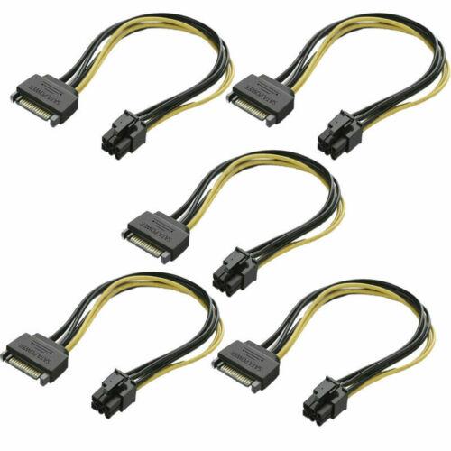 5 PCS 6-Pin to 15-Pin SATA Power Video Card PCI-E PCI Express Adapter Cable US