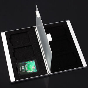 6 Slots Aluminum Storage Box for SD/SDHC/MMC Memory Card Case Holder Protector #
