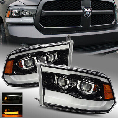 For 2013-2018 Ram 1500/2500/3500 (w/ Stock Projector) Polished Black Headlights
