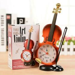 Modern Retro Violin Desk Clock Alarm Clock Stand Clock Home Bedroom Decor