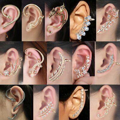 Cartilage Cuff - Women's Punk Fashion Crystal Clip Ear Cuff Stud Wrap Cartilage Earring Jewelry