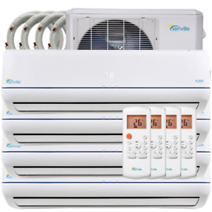 36,000BTU ductless heat pump, quad head - with warranty!