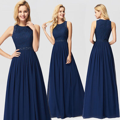 Ever-Pretty US Bridesmaid Dress Long Lace Embroidery Formal Gown Navy Blue 07391