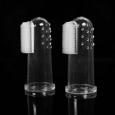 2x Dog Soft Finger Toothbrush Pet Oral Dental Brush Helps Reduce Plaque TartFj