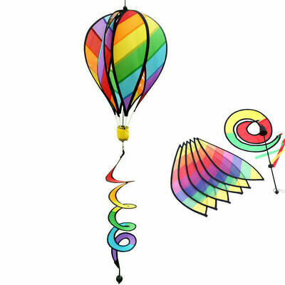 Striped Rainbow Windsock Hot Air Balloon Wind Spinner Garden Decor Kids Gift US](Rainbow Wind Spinner)