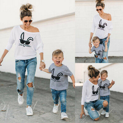 HOT Family Matching Outfits T-shirt MOTHER SON Women and Baby's Rabbit Tee Tops