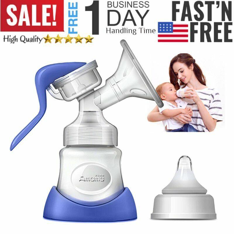 US Manual Breast Pump Breast Feeding Baby Nipple Suction Milk Bottle Sucking New