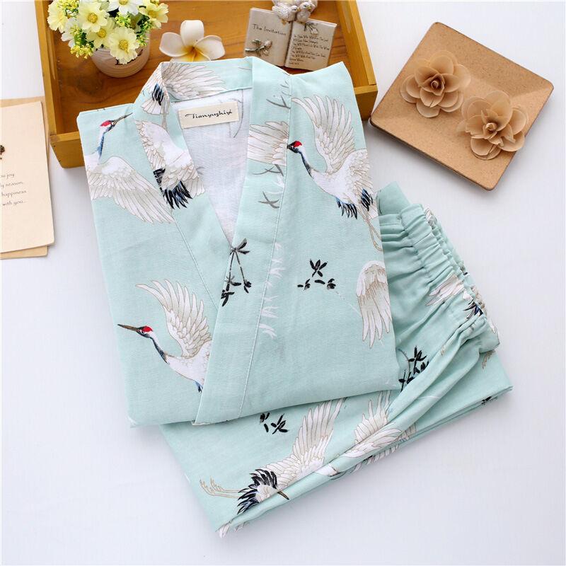 Chinese Japanese Oriental Cranes Ladies Kimono Pyjamas Pajamas Set  ladpj112113 d87e882ff
