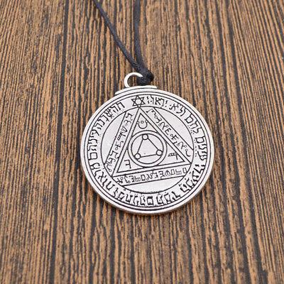 Solomon Amulet Pentacle Talisman Necklace Pendant Magical Mercury Silver Vintage