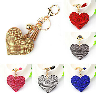 Hot Women Crystal Rhinestone Pendant Heart Shape Key Ring Chain Keychain Ring