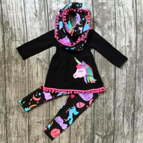USA Unicorn Kids Baby Girls Outfits Clothes T-shirt Tops Dre