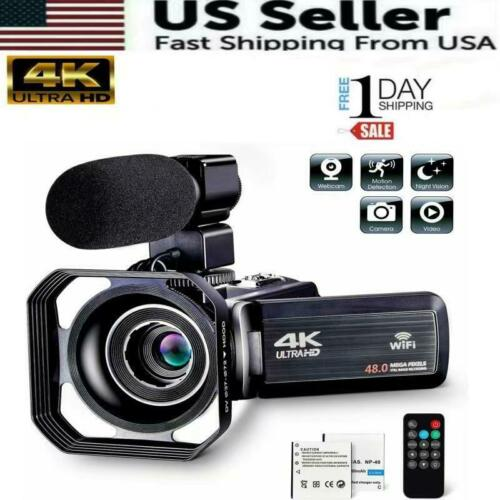 Camcorder Video Camera Ultra HD 4K 48MP Camcorder Camera with Microphone & Remot