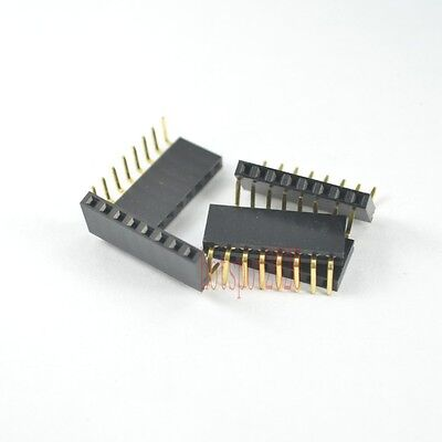 20pcs 2.54mm Pitch 1x8pin Header Right Angle Female Single Row Socket Connector
