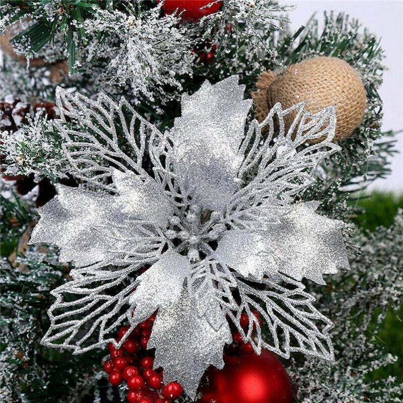 10Pcs Glitter Christmas Poinsettia Hanging Flowers Xmas Party Tree Decoration US