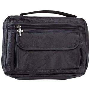 Black-Leather-Holy-Bible-Cover-Protective-Book-Case-Cross-Zipper-Pull-Tote-Bag