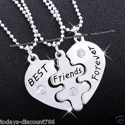 BEST FRIENDS Necklaces Sisters Heart Silver Xmas Gifts For Her Girl Niece