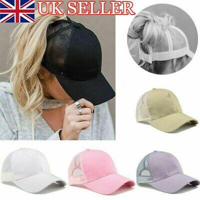 Men Ladies Ponytail Baseball Cap Snapback Summer Women Sun Sport Mesh Hat UK