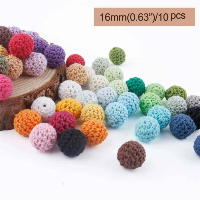 10pcs 16mm Crochet Loose Beads Ball DIY for Baby Teether Pac