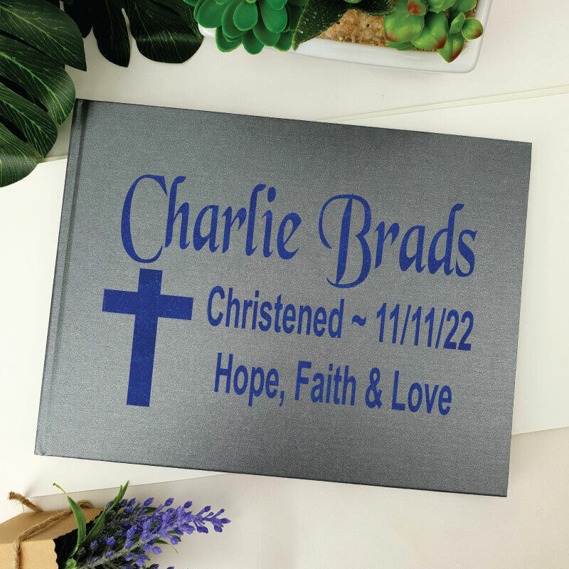 Christening Guest Book Keepsake Album - Grey A4 - Made To Order