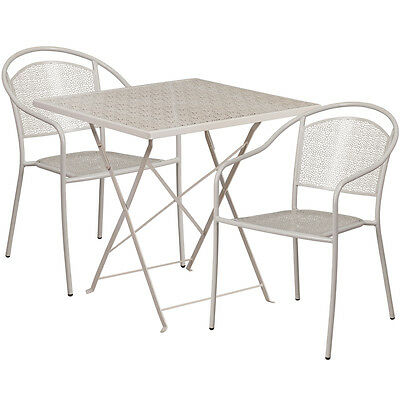 28 Light Gray Indoor-outdoor Folding Patio Resturant Table Set W2 Chairs