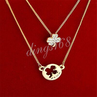 18K Rose Gold Filled Tarnish-Resist Double Flower Crystal Pendant+ Necklace E257