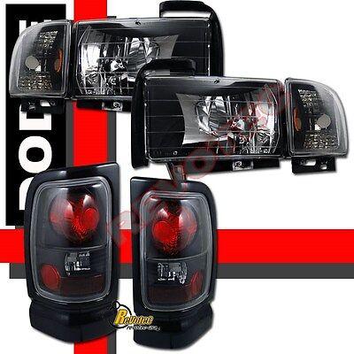 94-01 Dodge Ram 1500 2500 3500 Pickup Black Headlights W/ Signal + Tail Lights