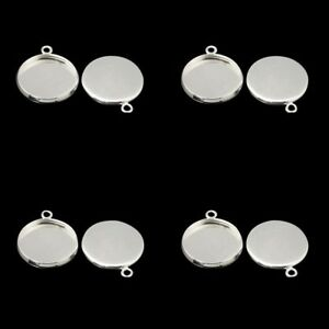 ❤ 10 x Silver Plated Blank Pendant TRAY Cup Setting For 12mm Cabochon ❤