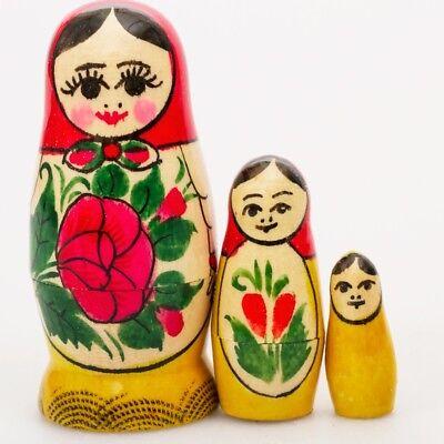 Russian Semenov Nesting dolls Matryoshka set 3 pcs. Hand painted in Russia 2.5