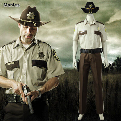 The Walking Dead Season 1 Rick Grimes Costume Cosplay Halloween Outfits Uniform