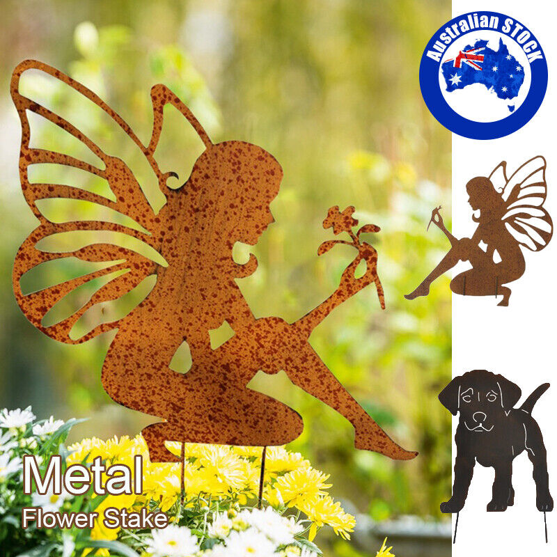 garden decor - Metal Garden Stake Fairy Angel /Dog Outdoor Yard Decor Sculpture Ornament AU