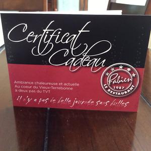 Certificat cadeau de $250 chez Fabien***WOW***