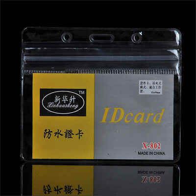 10 Pcepset Id Badge Card 95x80mm Plastic Pocket Holder Clear Pouches Ep