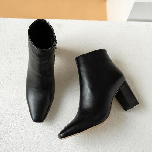 Gr.33-43 Schwarz Damen Overknee Kunstleder Kuban Absatz Winter Boots NEU