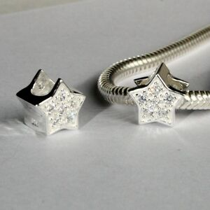 STAR-w-CZ-Christmas-European-charm-bead-Genuine-Solid-925-sterling-silver