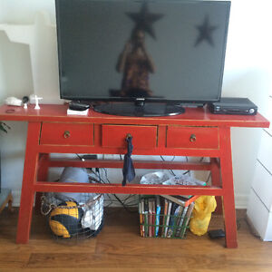 Red Statement Bench - TV unit, Display