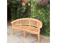 2x Curved Teak Benches