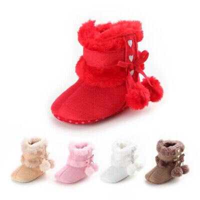 US Newborn Baby Girl Toddler Fur Boots Soft Sole Crib Shoes Booties Prewalker Infant Girl Booties