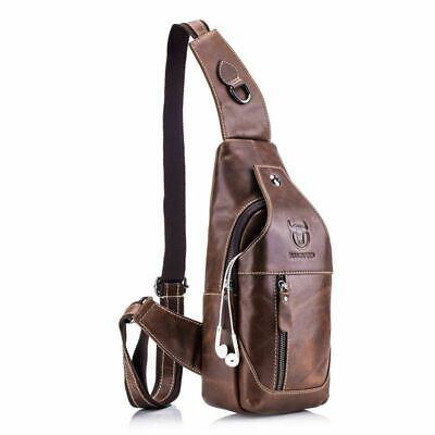 BULLCAPTAIN Herren Sling Bag aus echtem Leder Brust Schulter Rucksack Cross DE (Sling-rucksack)