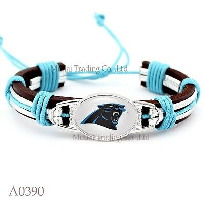 Carolina Panthers Leather Bracelet Pull Tie Quality Fast Ship USA Seller Carolina Panthers Leather